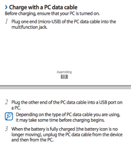 Charge with a PC Data cable