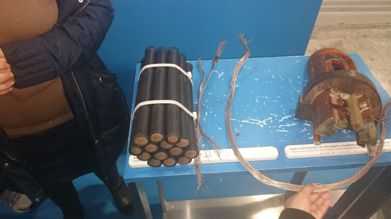 that much copper (left) to carry the same current as that much niobium (right)